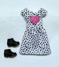 Stacie doll clothes Barbie sister Pink Heart Print dress + Shoes Mattel New
