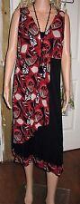 Ladies Red & Black Dress Advocado Brand size 14 Australia Design