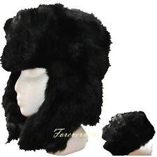 "Real Rabbit Fur ""Ushanka""/Traditional Bomber Trooper Trapper Hat-Unisex Black M"