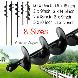 9''-18''Planting Auger Spiral Hole Drill Bit Garden Yard Bulb Earth Planter Tool