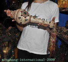 Rare Tibetan Buddhism Conch Shell Inlay silver Filigree green gem Trumpet Horn