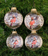 LOT OF 4 CLEAR GLASS CARDINAL CHRISTMAS BALLS w/ WHITE SNOW SCENE STENCILING