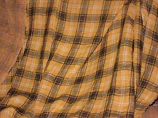 tissu  Écossais Madras jaune et noir fil doré lurex doublé en 160 cm de large