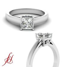 0.60 Ct Thick Band Engagement Ring With Basket Set Princess Cut Diamond FLAWLESS
