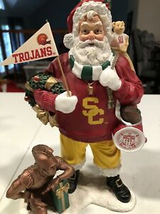 RARE VINTAGE Southern California Trojans Football  DANBURY MINT SANTA FIGURE