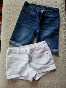Justice ~ 2 pairs of Girls Denim Shorts ~ Blue and White ~ Size 10