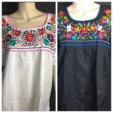 WOMENS PEASANT EMBROIDERED MEXICAN HANDMADE BLOUSE WHITE OR BLACK S-M-L-XL-XXL