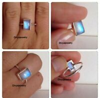 Rainbow Moonstone Ring Solid 925 Sterling Silver Ring Handmade Ring Size All oo5