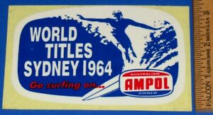 Vintage Original 1964 World Surfing Titles Sydney Australia Contest Decal