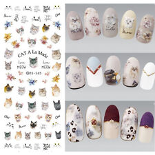 Nail Art Water Decals Transfer Stickers Manicure Decor Lovely Cat Meow DIY Tips