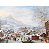 Jan Griffier Winter Scene With Skaters Extra Large Wall Print Canvas Mural