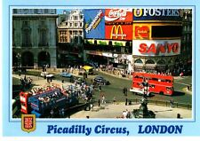 England, London, Picadilly Circus, Store Fronts, Double-Decker Buses- Postcard