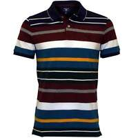 Gant Multi Stripe Pique Rugger Men's Polo Shirt, Burgundy/Blue