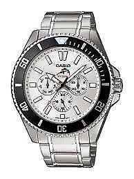 Casio Pre Oceanus Duro Black Bezel White Dial Stainless Steel Watch MDV-303D-7AV
