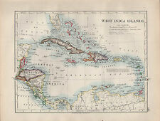 1904 ANTIQUE MAP ~ WEST INDIA ISLANDS ~ JAMAICA HONDURAS BAHAMA HAITI CUBA