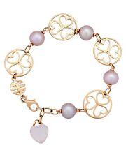Mimi Milano 18k Rose Gold Violet Pearls and 18K Rose Quartz Bracelet B286R3Q