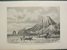 c1890 ANTIQUE PRINT ~ CAPE HORNER VIEW FROM ENTRANCE OF KAGOSIMA BAY ~