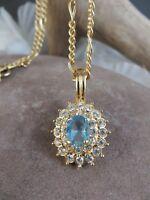 Vintage Roman Gold-tone Chain Necklace Blue Glass Topaz Halo Pendant  #238