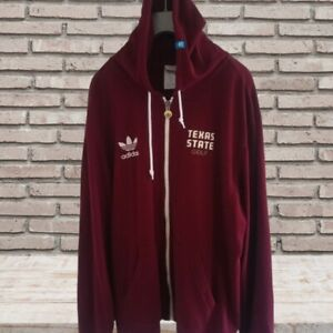 Men's Retro Red Adidas Texas State Golf Hoodie Embroidered Logo Size XL Vintage