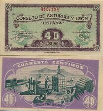 40 Céntimos. Consejo de Asturias y León. Sin serie. Nº 495428. Tamaño 92x45 mm.