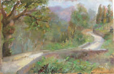 ITALIAN LANDSCAPE w PATH LOVELY DETAILED IMPRESSIONIST OIL ON PANEL PAINTING