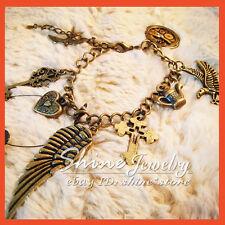 VINTAGE GOTHIC Bronze PUNK CRYSTAL Wing&Heart& &Cross&Key tag Bangle Bracelet 11