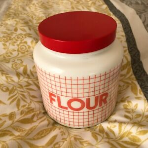 Vintage 70s 80's CLP Belgium Red & White Large Flour Storage Jar Retro