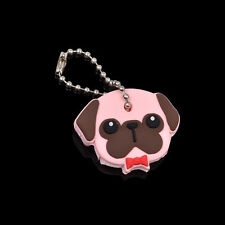 Cute Puppy Pug Cat Rabbit Key Cover Cap Keychain Key Ring PVC Key Case Unisex