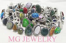 Sale ! Wholesale Bulk ! 100Pcs Mix Ring Lot Gemstone 925 Sterling Silver Plated