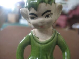 Pixie Elf Ceramic Figurine  vintage green