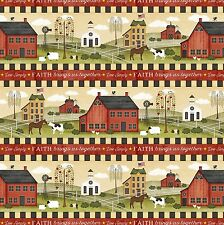 Farm Life Community, Border Stripe, The Way Home, Wilmington Prints (By 1/2 yd)