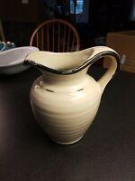 "beautiful 7"" glazed pottery stoneware pitcher, white and black, ribbed sides"