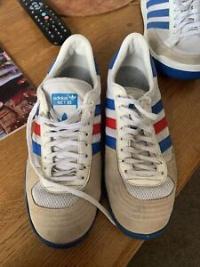 VERT RARE Vintage Adidas NET 80 White/Red/Blue Tennis  Sneakers trainers  size 8