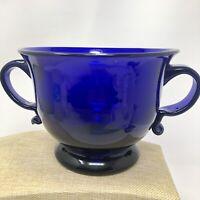 Vintage Cobalt Blue Handled Glass Centerpiece Bowl Urn Vase