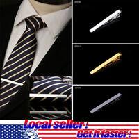 3 PCS Mens Tie Bar Pinch Clip Set for Regular Ties 2.1 Inch, Silver Black Gold