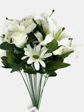 Artificial Lily Rose & Gerbera Daisy Mixed Flower Bush x 55cm - Cream