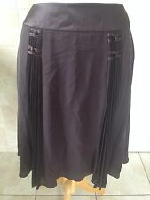 "Nougat London Ladies Dark Brown Silk Skirt Size 3 UK 12/14 32"" W New With Tags."