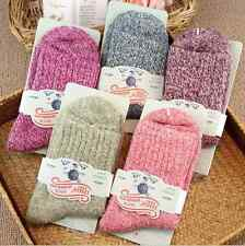 5 Pairs Women Wool Cashmere Thick Warm Soft Solid Casual Sports Winter Socks Lot