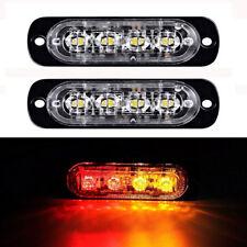 Amber Red 2PCS 4 LED Warning Light Bar Emergency Car Beacon Flash Strobe Lamps