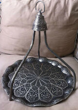 TURKISH TEA-WATER -COFFEE Serving Wavy TRAY with Hanger Dark  Silver color