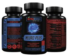 NEURO PLUS #1 NOOTROPIC Brain Booster - Focus Memory Supplement - 60 VEGGIE CAPS