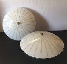 Pair Mid Century Gold Starburst Milk Glass Bowl Ceiling Light Fixtures