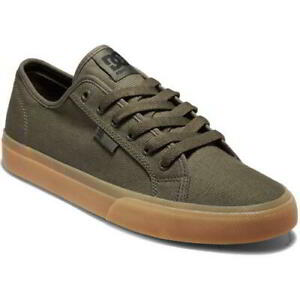 DC Manual Mens Green Lace Up Canvas Skate Shoes Trainers Size 8-13