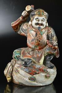 Q2215 : XF Japanese Old Kutani-ware Gold paint DAIKOKU STATUE Ornament Doll