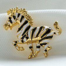 New Christmas Gift Handmade Streak Stripe Horse Brooch Pins Rhinestone Jewelry