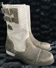Sorel Women's Size 8 Major Pull On Leather Grey Cool Boots 2167 060 Perforated