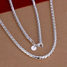 Fashion 925Sterling Solid Silver Men Jewelry Rope Chain Necklace For Women N012