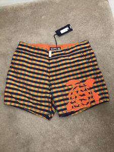 VILBREQUIN S New Swimming Shorts Trunks Orange Check Turtle Meperfo Summer Holid