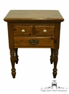 """ETHAN ALLEN Antiqued Pine Old Tavern 23"""" Two Drawer Nightstand"""