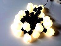 x20 Christmas Festoon Fairy Lights Warm White LED Battery - 10.7m Black Wire